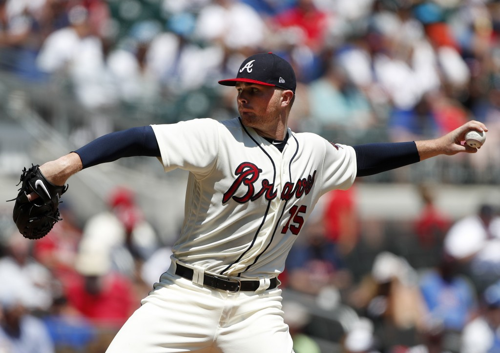 Atlanta Braves starting pitcher Sean Newcomb works in the fifth inning of a baseball game against the Los Angeles Dodgers, Sunday, July 29, 2018, in A...
