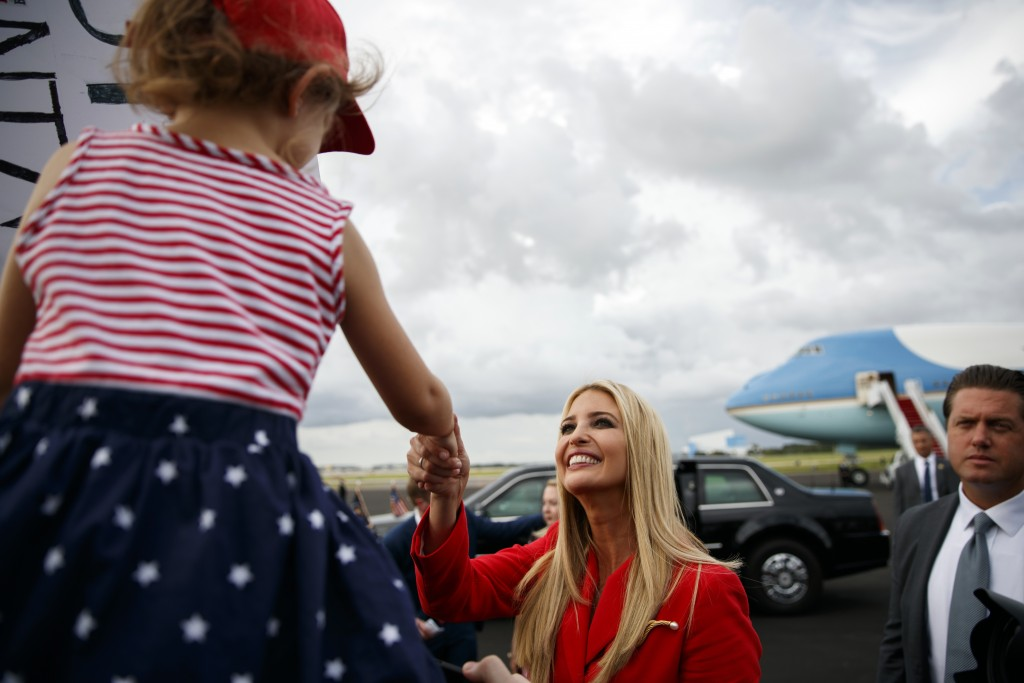 Ivanka Trump shakes hands with supporters after getting off Air Force One at Tampa International Airport, Tuesday, July 31, 2018, in Tampa, Fla. (AP P...