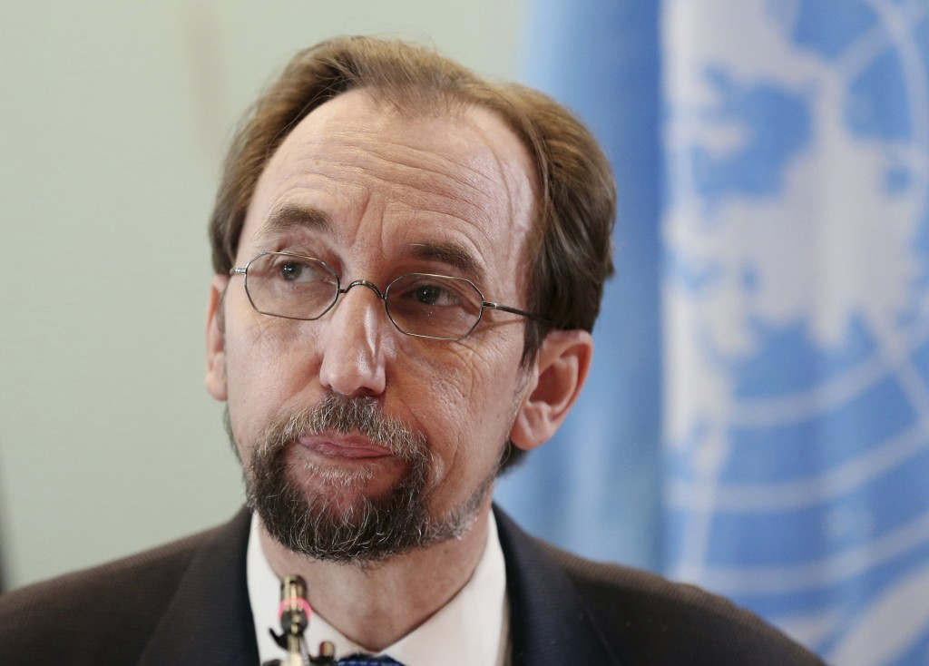 FILE - In this Feb. 7, 2018, file photo, U.N. human rights chief Zeid Ra'ad al-Hussein pauses during a press conference in Jakarta, Indonesia. Zeid de...