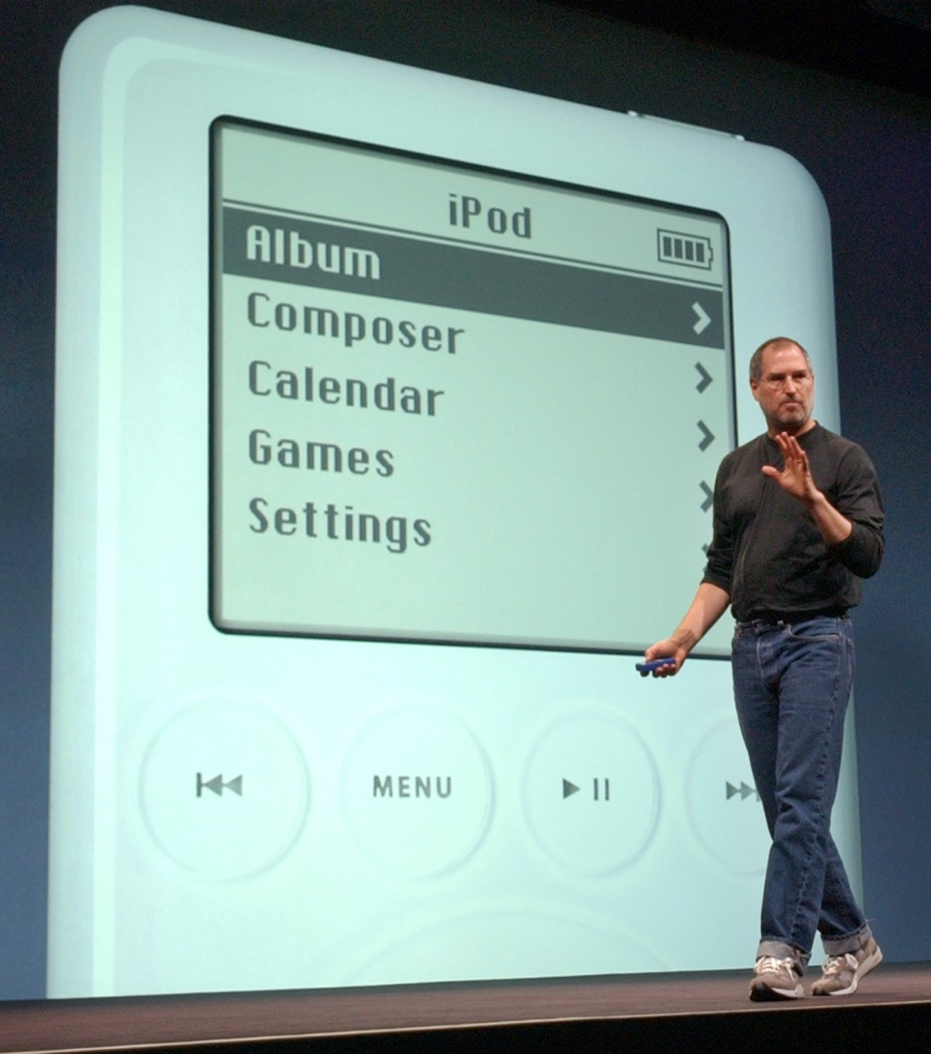 FILE - In this April 28, 2003 file photo, Apple Computer Inc. chief executive Steve Jobs gestures as he introduces the new iPod during Apple's launch ...