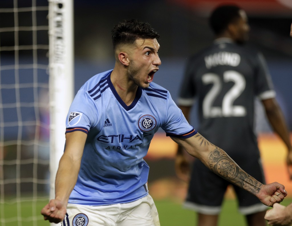 New York City FC's Valentin Castellanos, celebrates his goal during the second half of an MLS soccer match against Vancouver Whitecaps, Saturday, Aug....