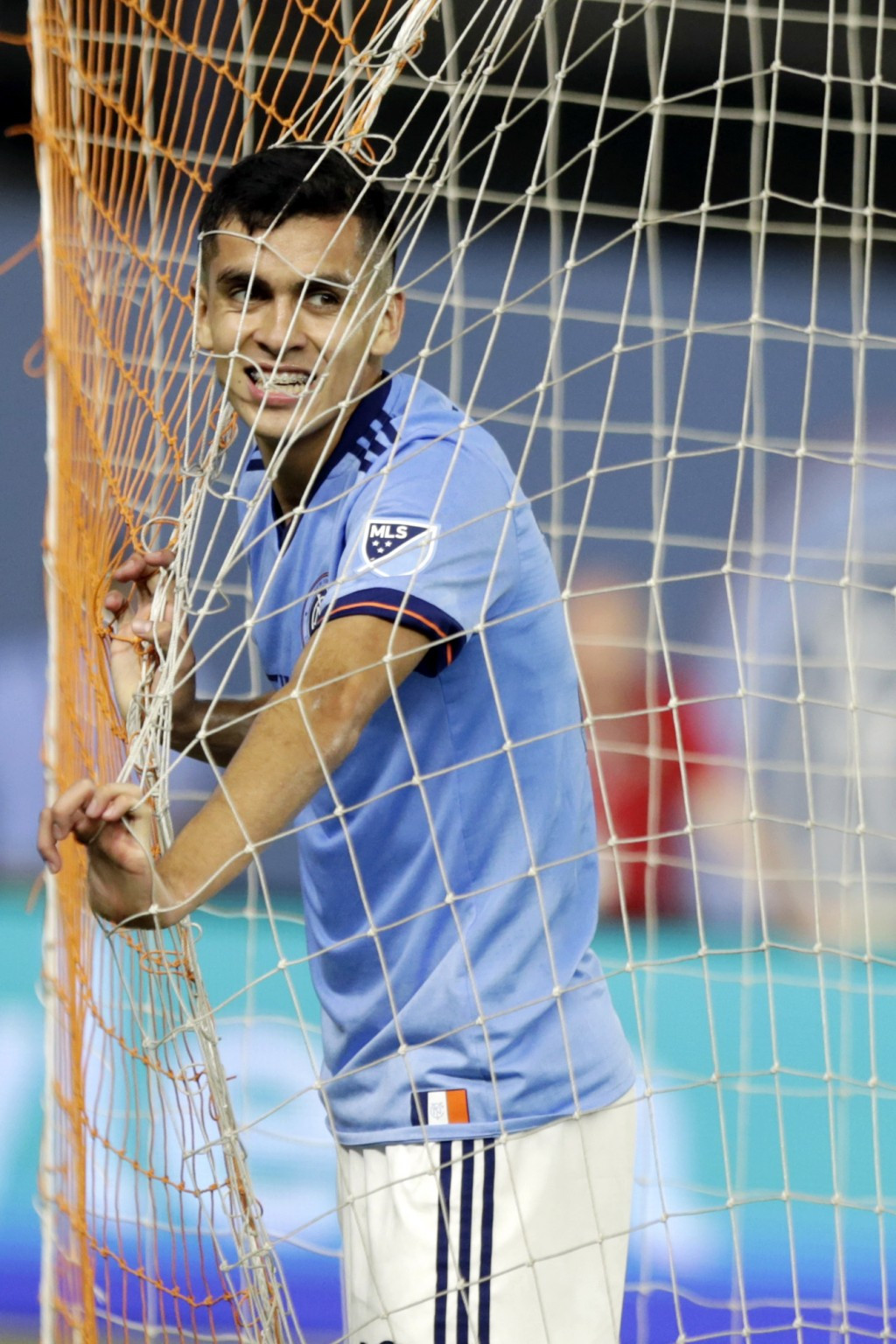 New York City FC's Jesus Medina, reacts during the second half of an MLS soccer match against Vancouver Whitecaps, Saturday, Aug. 4, 2018, in New York...