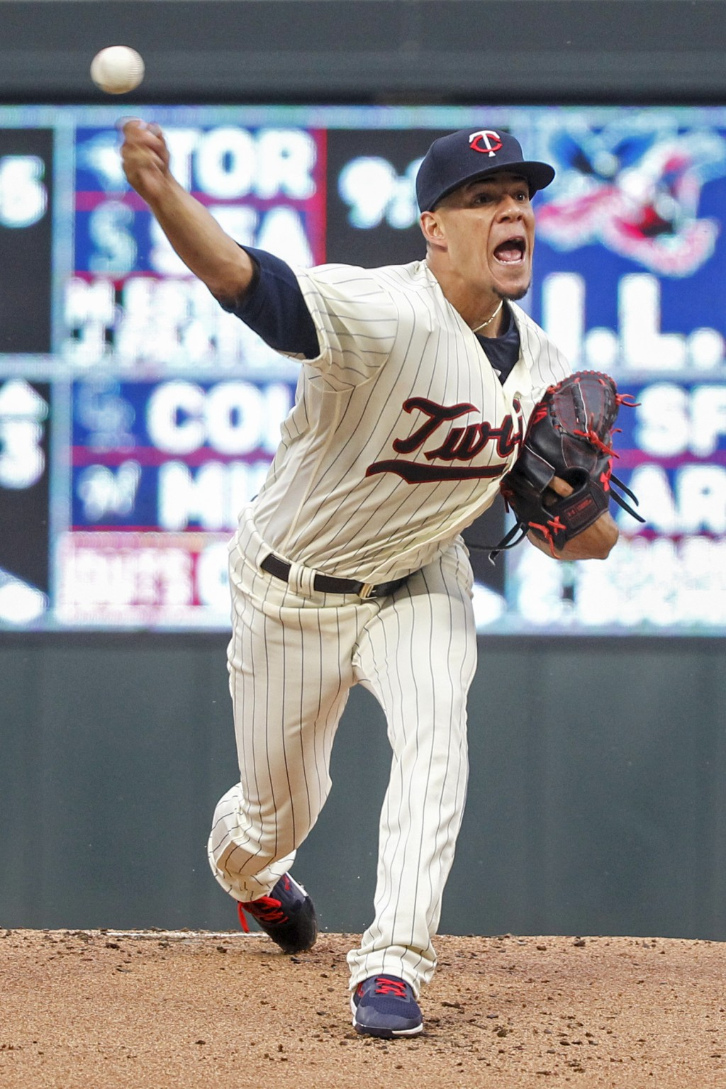 Minnesota Twins starting pitcher Jose Berrios throws to the Kansas City Royals in the first inning of a baseball game Saturday, Aug. 4, 2018, in Minne...