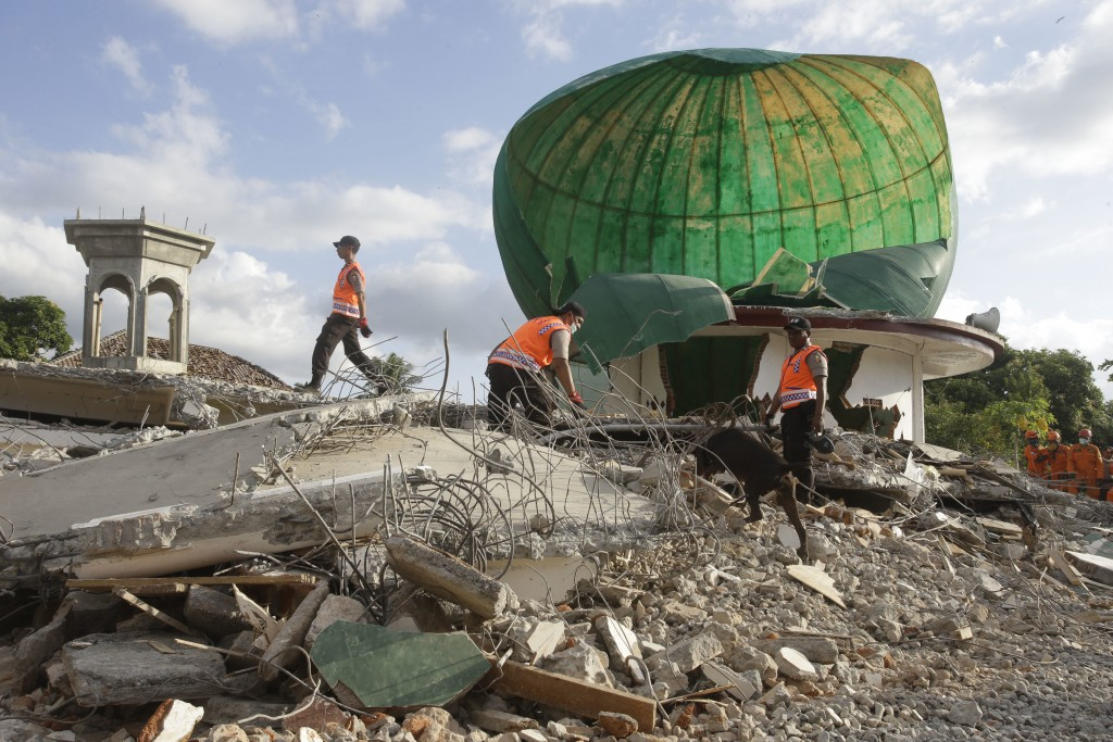 Rescuers with sniffer dog search for victims at a mosque damaged by an earthquake in North Lombok, Indonesia, Tuesday, Aug. 7, 2018. Thousands of peop...