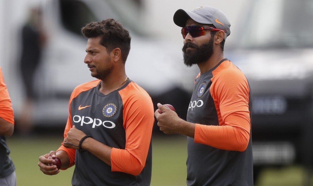 India's Kuldeep Yadav, left, and Ravindra Jadeja wait to bowl during a training session at Lord's Cricket ground in London, Wednesday, Aug. 8, 2018. E