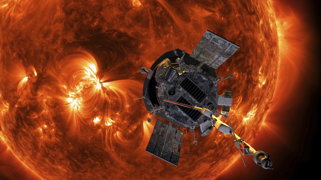 This image made available by NASA shows an artist's rendering of the Parker Solar Probe approaching the Sun. It's designed to take solar punishment li