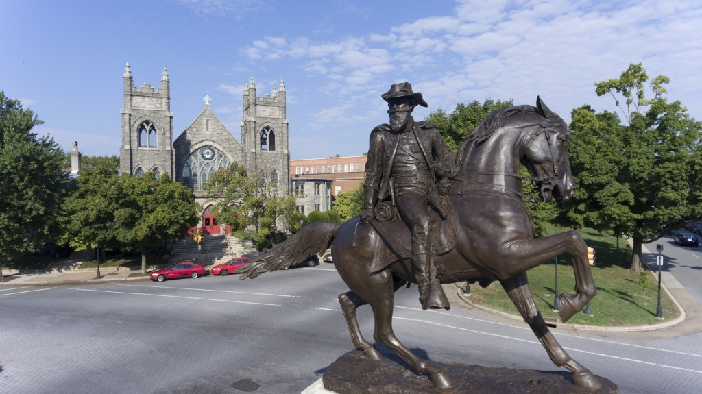 FILE - This Aug. 22, 2017, file photo shows the statue of Confederate General J.E.B. Stuart on Monument Avenue in Richmond, Va. Pressure to take down