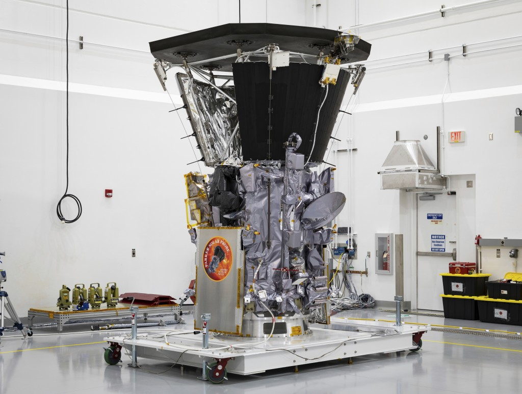 This July 6, 2018 photo made available by NASA shows the Parker Solar Probe in a clean room at Astrotech Space Operations in Titusville, Fla., after t