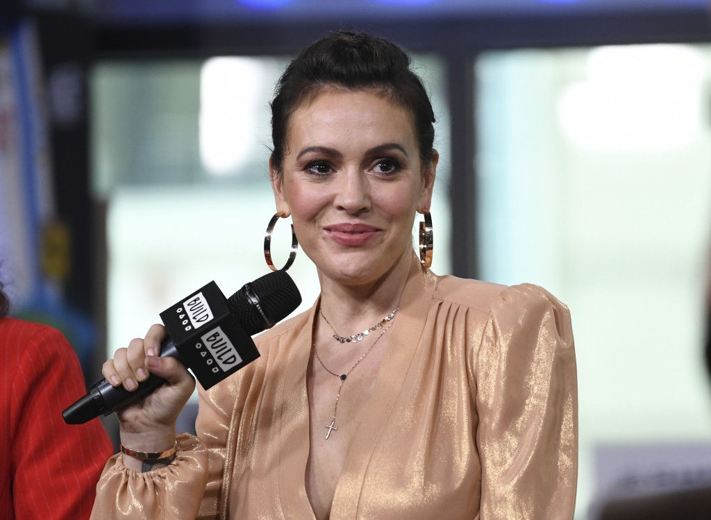 """Actress Alyssa Milano participates in the BUILD Speaker Series to discuss the new Netflix original series """"Insatiable"""" at AOL Studios on Tuesday, Aug."""