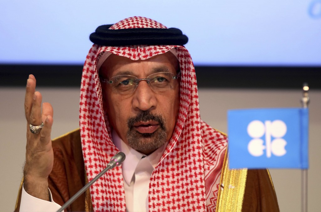 FILE- In this June 23, 2018 file photo, Khalid Al-Falih Minister of Energy, Industry and Mineral Resources of Saudi Arabia attends a news conference i
