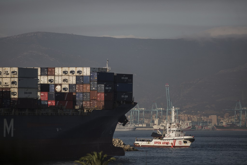 The Open Arms Search and Rescue vessel arrives in Algeciras, Spain, Thursday, Aug. 9, 2018. A rescue boat operated by Spanish aid group Proactiva Open