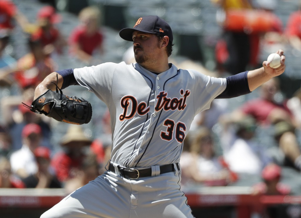 Detroit Tigers pitcher Blaine Hardy throws to the Los Angeles Angels during the second inning of a baseball game Wednesday, Aug. 8, 2018, in Anaheim,