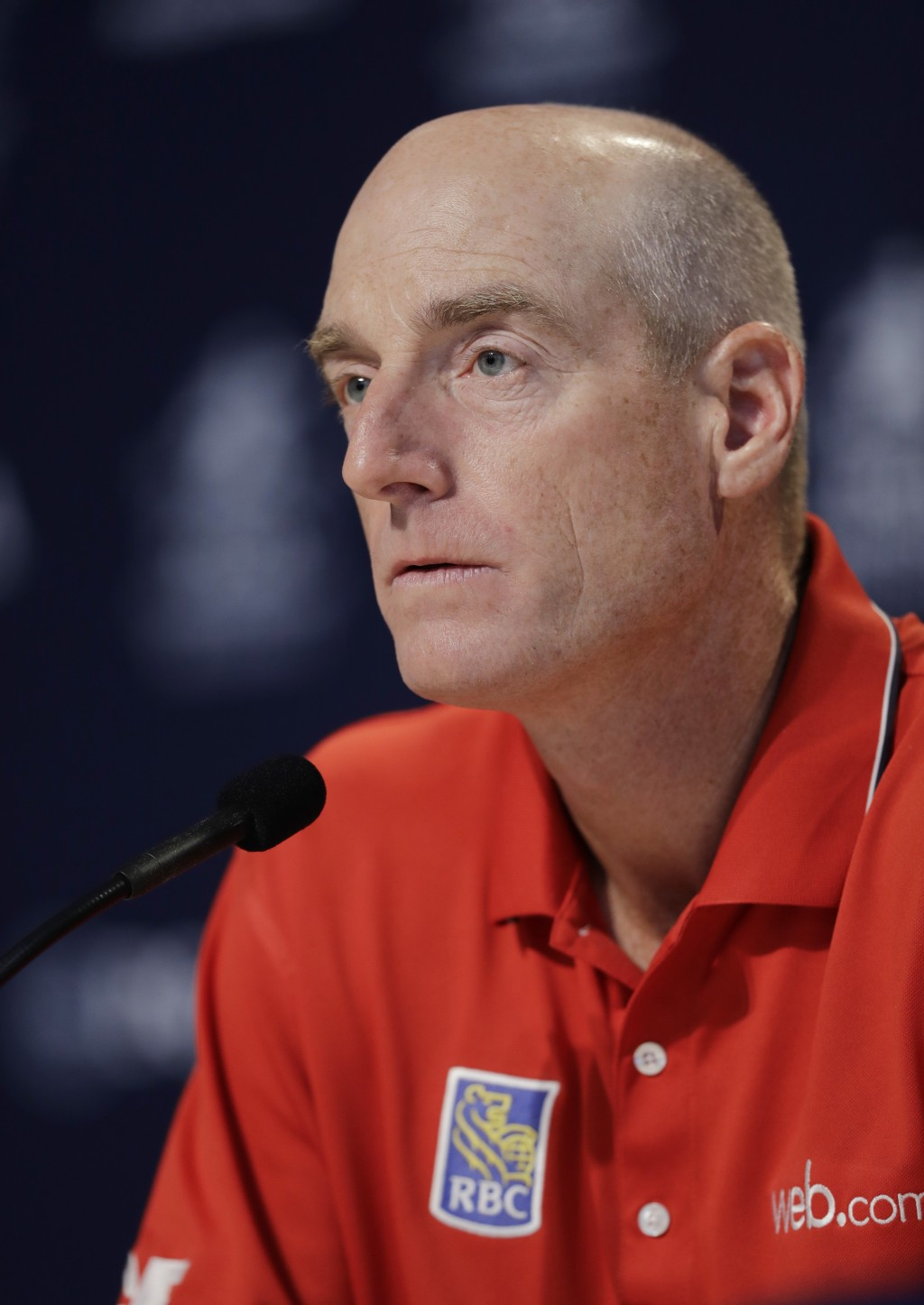 Jim Furyk responds to a question during a news conference at the PGA Championship golf tournament at Bellerive Country Club, Wednesday, Aug. 8, 2018, ...