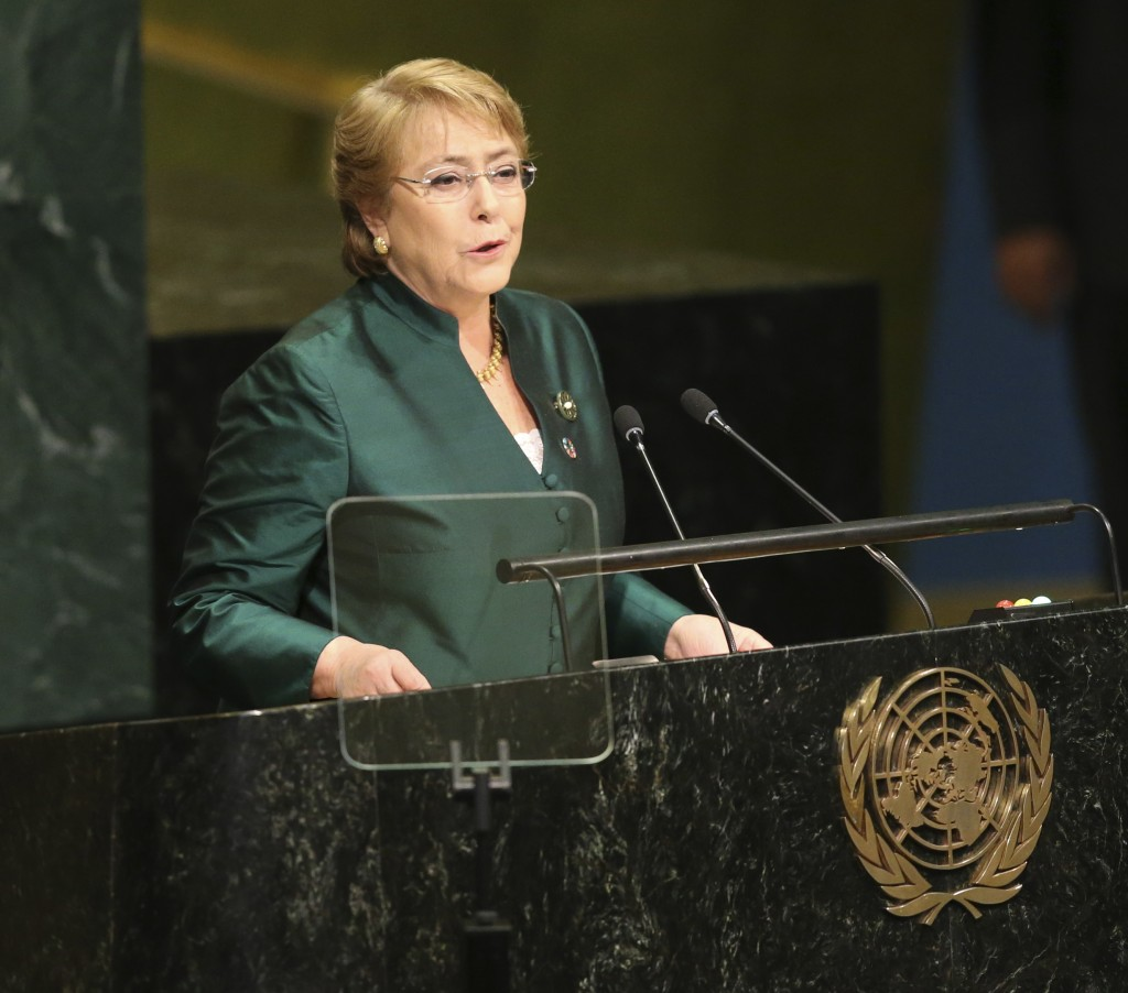 FILE - In this Sept. 21, 2016 file photo, then Chilean President Michelle Bachelet speaks during the 71st session of the United Nations General Assemb