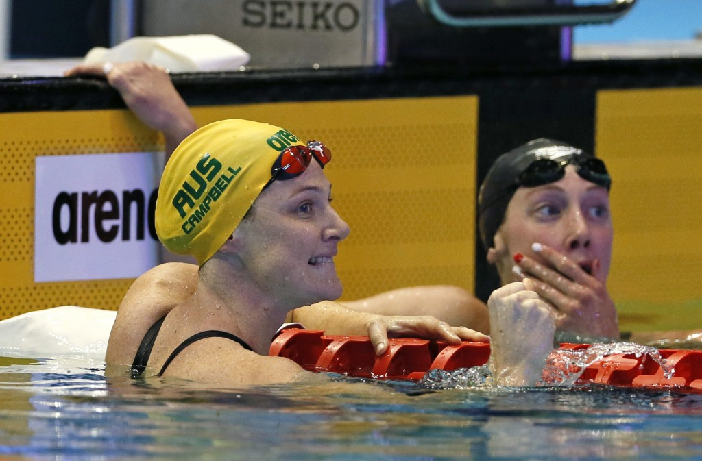Australia's Cate Campbell reacts after winning the women's 100m freestyle final during the Pan Pacific swimming championships in Tokyo, Friday, Aug. 1