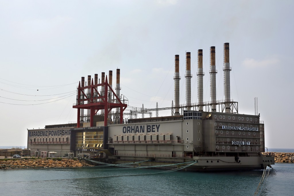 This July 16, 2018, photo shows the Karadeniz Powership Orhan Bey is docked at Jiyeh, south of Beirut, Lebanon. This summer, the Karadeniz Energy Grou