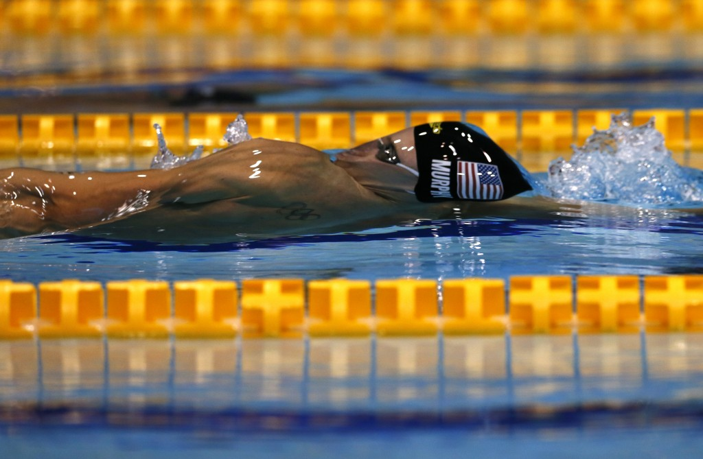 U.S. swimmer Ryan Murphy competes on his way to winning the men's 100m backstroke final during the Pan Pacific swimming championships in Tokyo, Friday