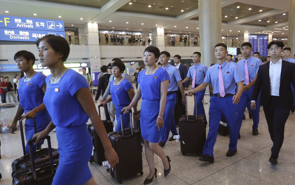 FILE - In this July 29, 2018, file photo, a North Korean delegation arrives for joint Asian Games training with South Koreans at Incheon International