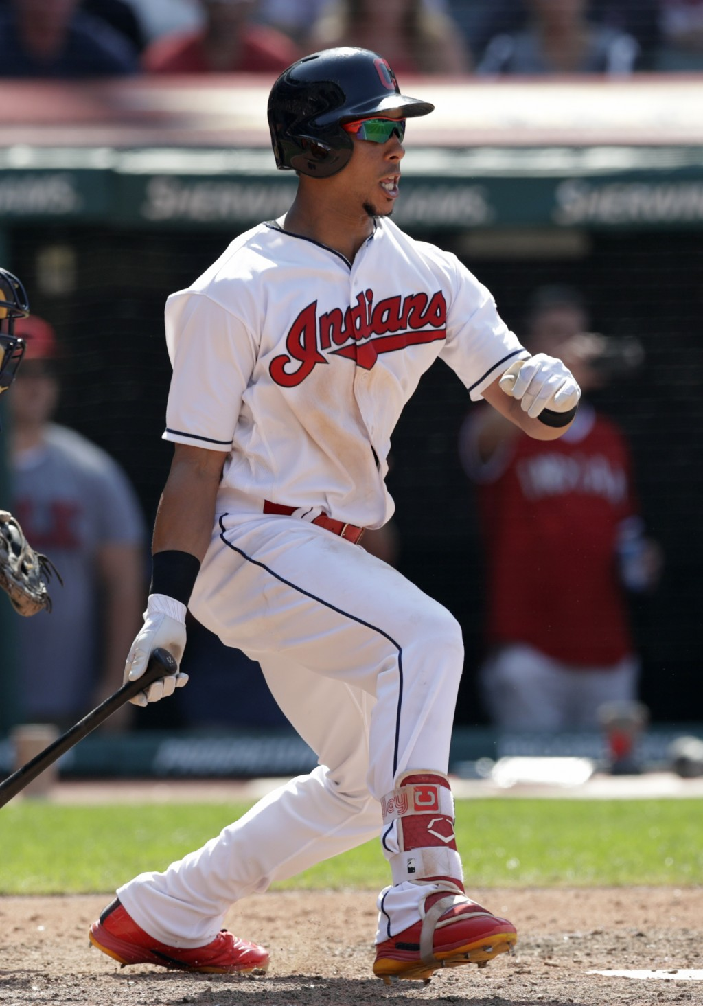 Cleveland Indians' Michael Brantley hits a game-winning RBI-single off Minnesota Twins relief pitcher Addison Reed in the ninth inning of a baseball g