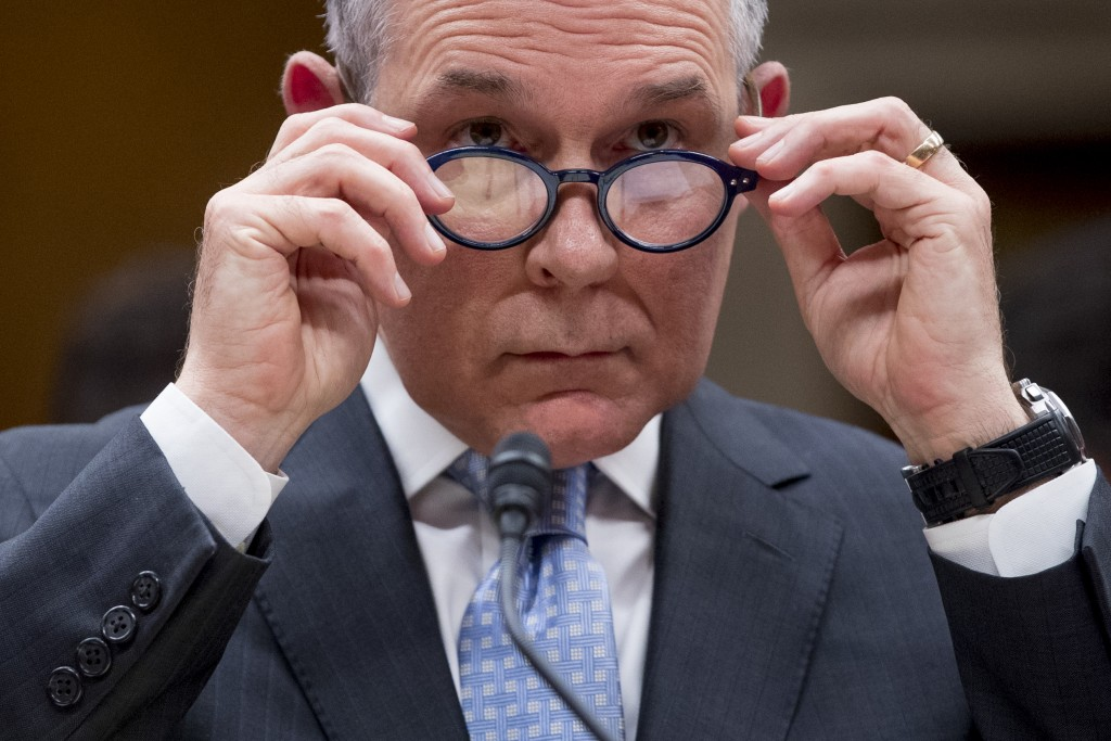 FILE - In this May 16, 2018 file photo, Environmental Protection Agency Administrator Scott Pruitt appears before a Senate Appropriations subcommittee