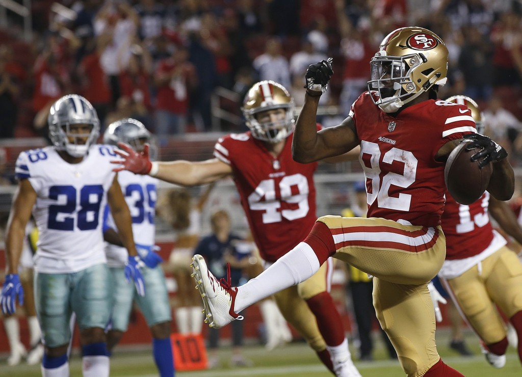 San Francisco 49ers wide receiver Richie James (82) celebrates after scoring a touchdown against the Dallas Cowboys during the second half of an NFL p