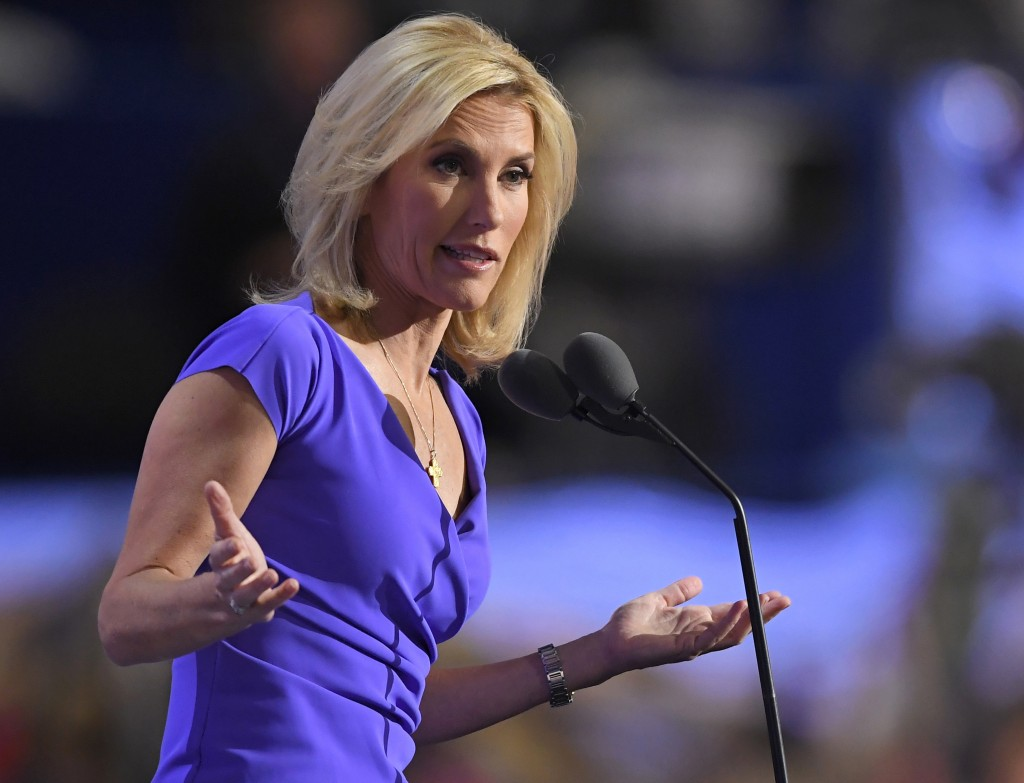 FILE - In this Wednesday, July 20, 2016, file photo, conservative political commentator Laura Ingraham speaks during the third day of the Republican N