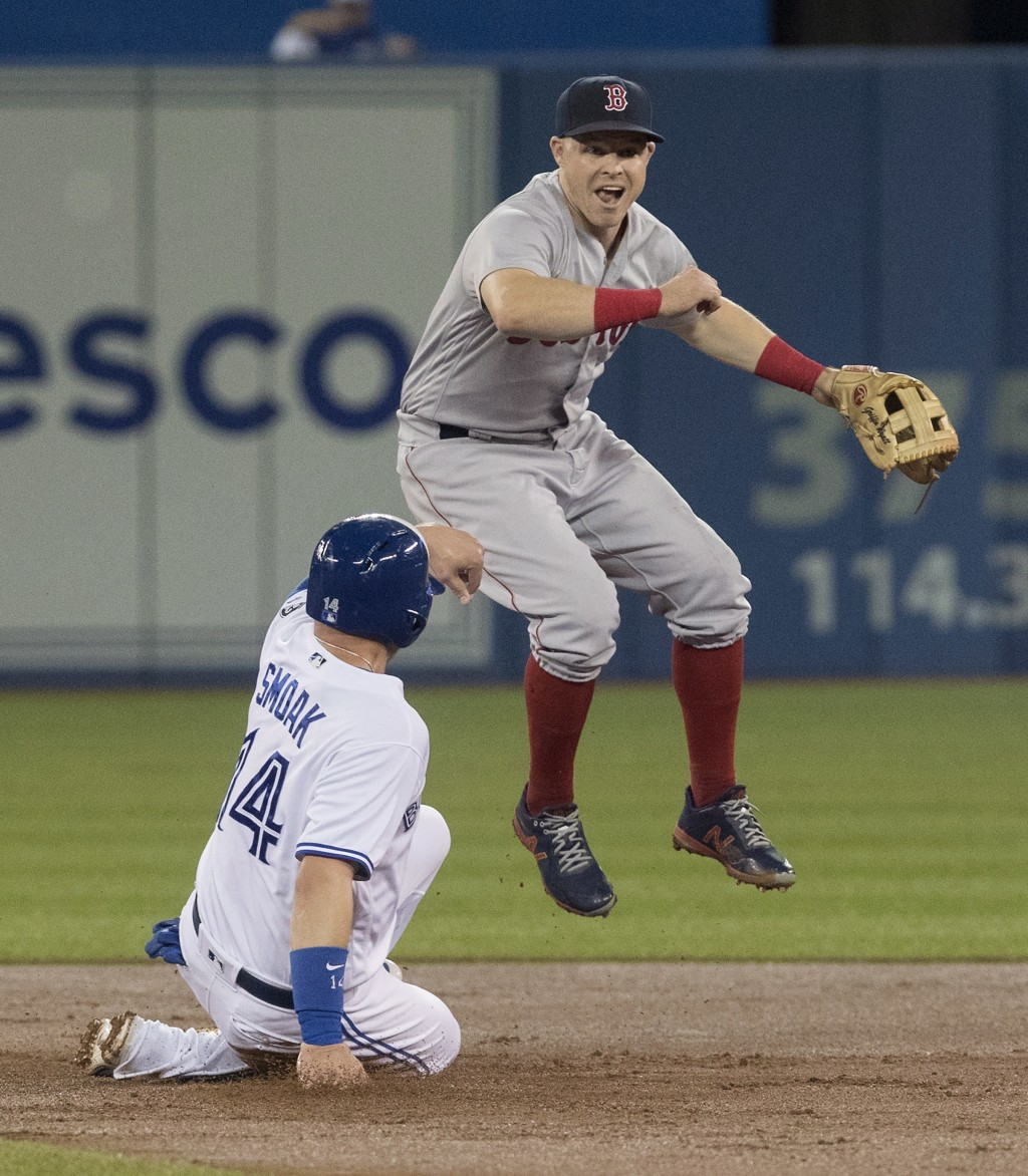 Boston Red Sox's Brock Holt gets the force out at second base on Toronto Blue Jays' Justin Smoak but fails to turn the double play during the first in