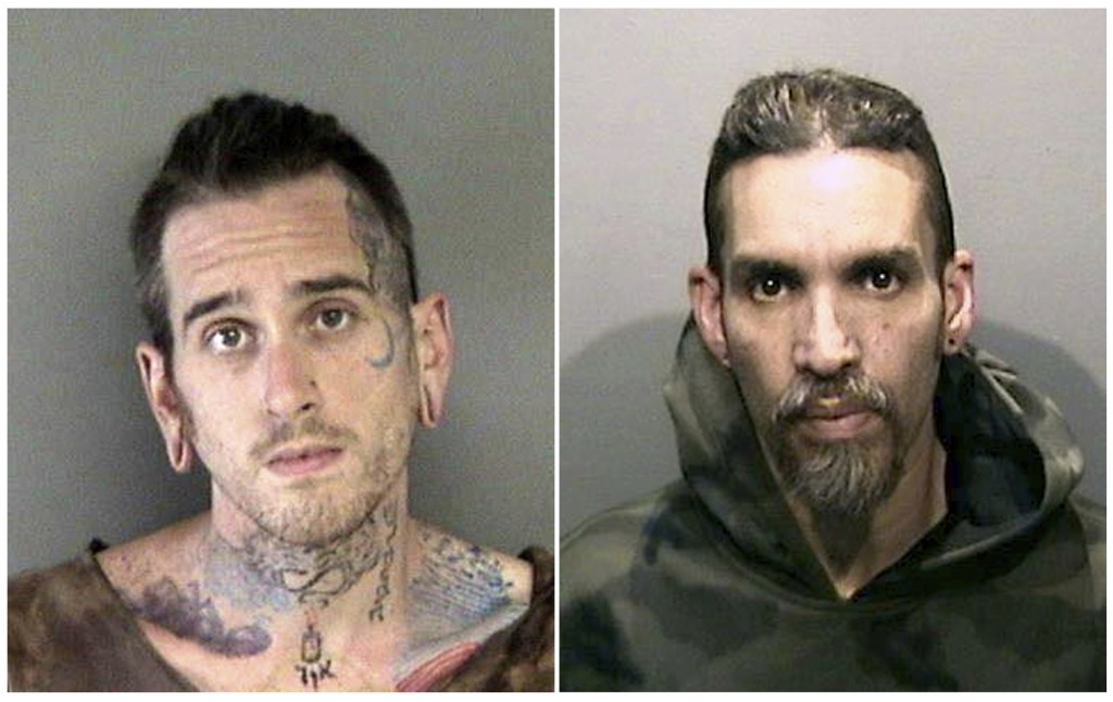 FILE- This combination of file June 2017 booking photos released by the Alameda County Sheriff's Office shows Max Harris, left, and Derick Almena, at