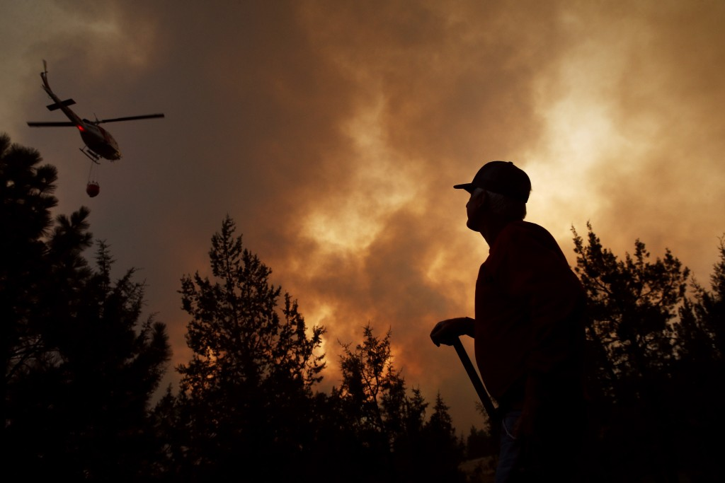 Hummer Estes watches a helicopter battling the Hat Fire, Thursday, Aug. 9, 2018, in Fall River Mills, Calif. (AP Photo/John Locher)