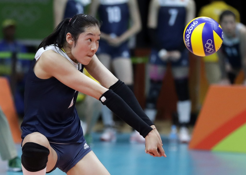 FILE - In this Aug. 18, 2016, file photo China's Zhu Ting controls the ball during a women's semifinal volleyball match against the Netherlands at the