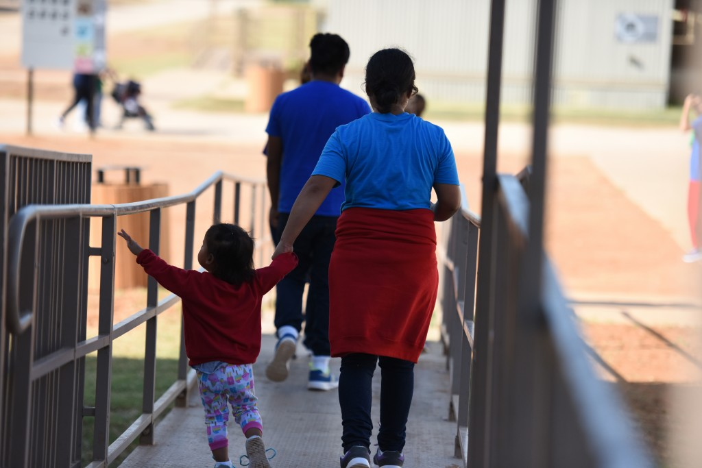This Thursday, Aug. 9, 2018, photo, provided by U.S. Immigration and Customs Enforcement, shows a scene from a tour of South Texas Family Residential