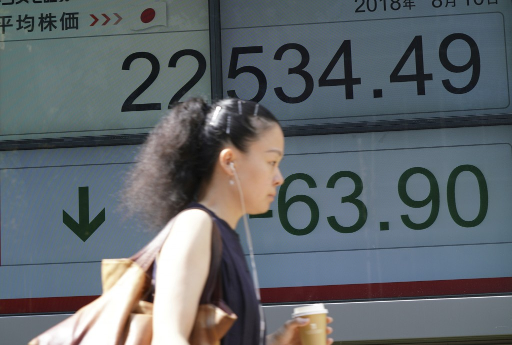A woman walks past an electronic stock board showing Japan's Nikkei 225 index at a securities firm in Tokyo Friday, Aug. 10, 2018. Shares were lower i