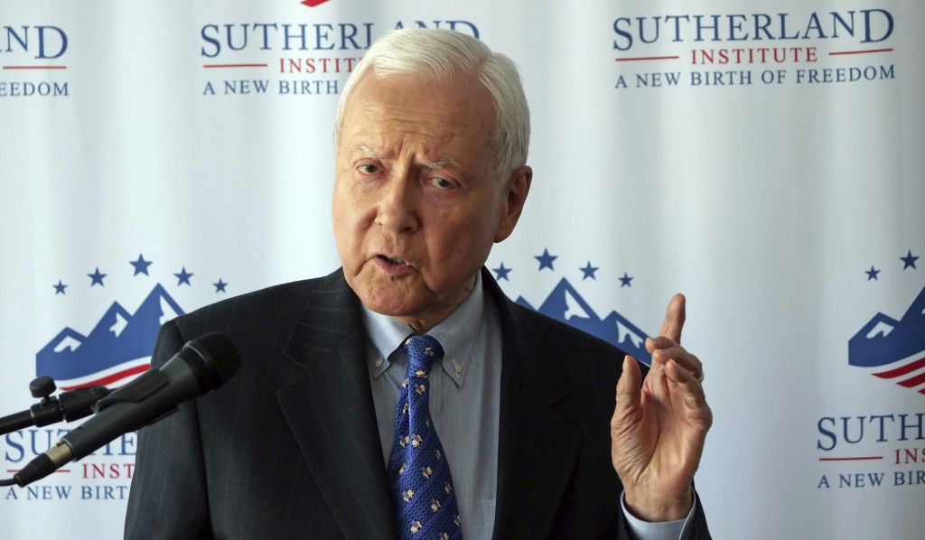 U.S. Sen. Orrin Hatch discusses Supreme Court nominee Brett Kavanaugh during a speech hosted by the Sutherland Institute, Thursday, Aug. 9, 2018, in S