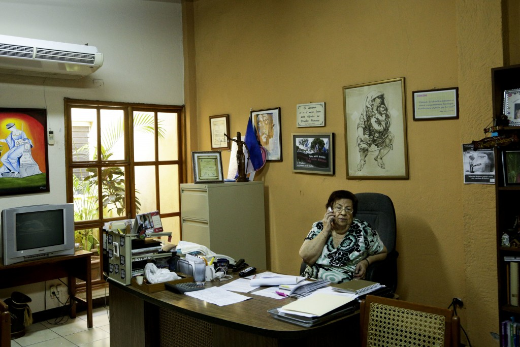 "In this July 24, 2018 photo, Vilma Nunez, president of Nicaraguan Center for Human Rights talks on a phone, at her office in Managua, Nicaragua. ""Righ"