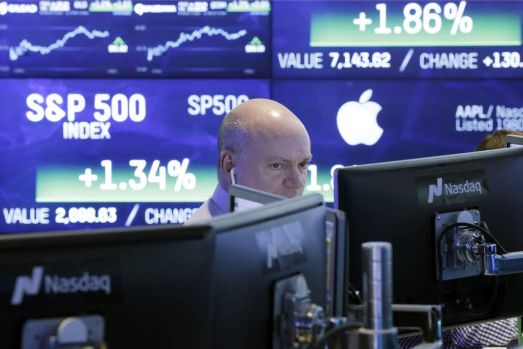 FILE- In this Feb. 14, 2018, file photo, a Nasdaq employee works at his computer at the Nasdaq MarketSite in New York. Facebook and a small group of o...