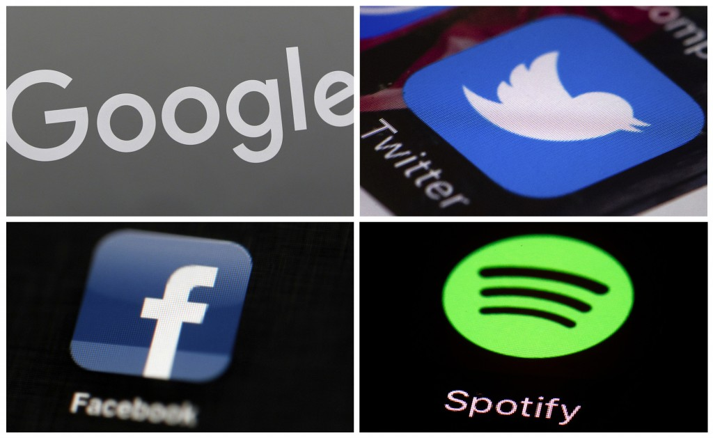 This photo combo of images shows, clockwise, from upper left: a Google sign, and apps for Twitter, Spotify and Facebook. YouTube, Facebook, Twitter, S