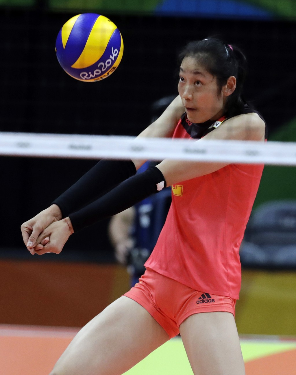 FILE - In this Aug. 12, 2016, file photo China's Zhu Ting bumps during a women's preliminary volleyball match against Serbia at the 2016 Summer Olympi