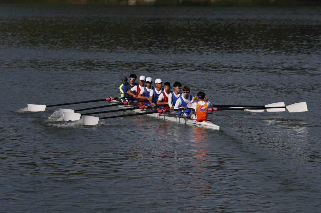 FILE - In this July 31, 2018 file photo, South and North Korean players train on Tangeum Lake International Rowing Center in Chungju, South Korea. The
