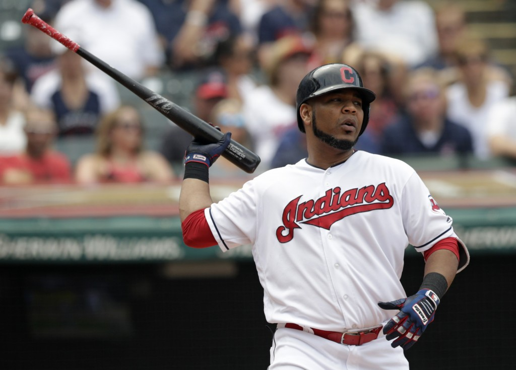 Cleveland Indians' Edwin Encarnacion reacts after striking out against Minnesota Twins starting pitcher Jose Berrios in the fourth inning of a basebal