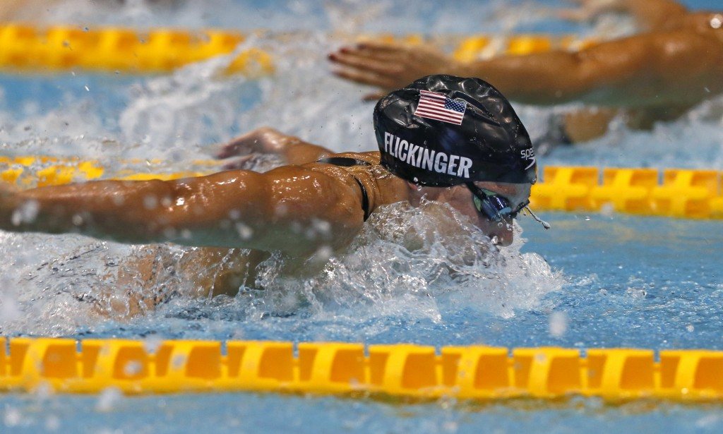 U.S. swimmer Hali Flickinger swims on her way to winning the women's 200m butterfly final during the Pan Pacific swimming championships in Tokyo, Frid
