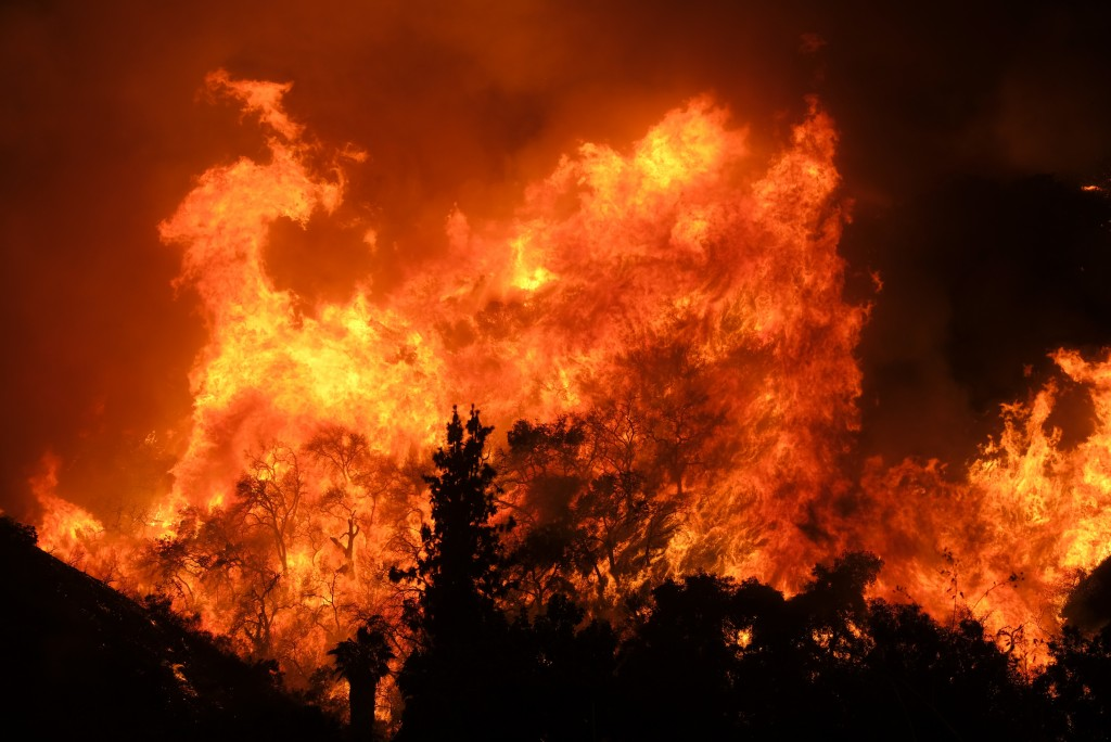 The Holy Fire burns in the Cleveland National Forest along a hillside at Temescal Valley in Corona, Calif., Thursday, Aug. 9, 2018. (AP Photo/Ringo H.