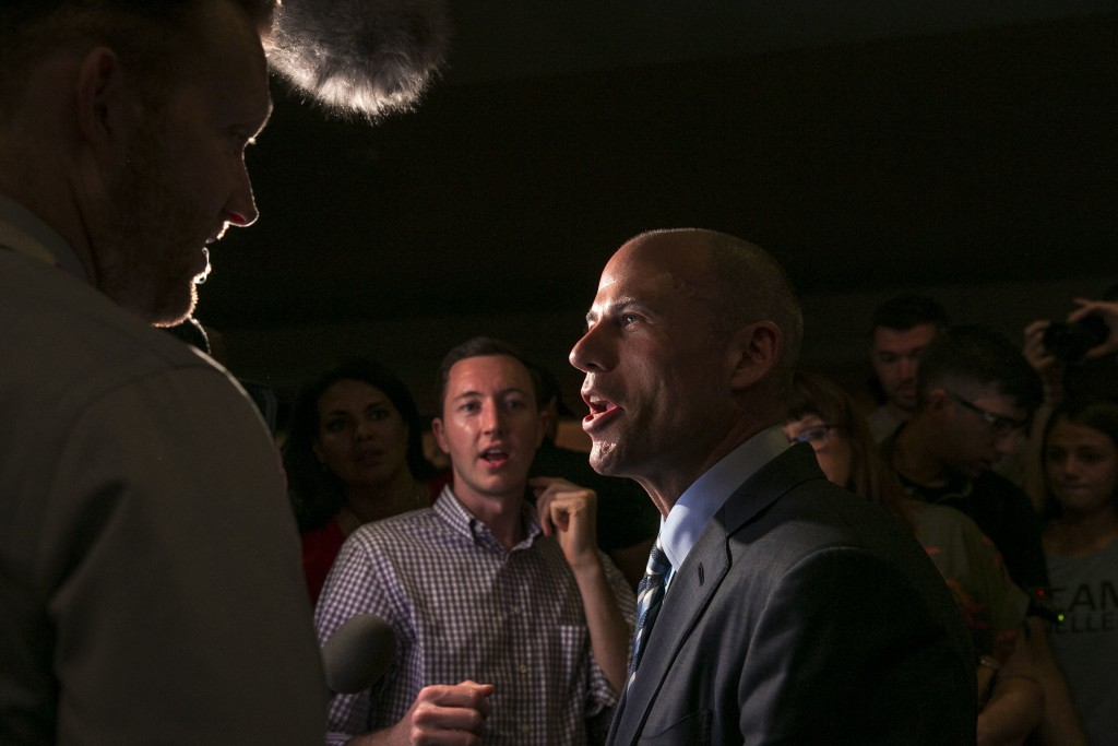Michael Avenatti  with reporters after his speech at the Iowa Democratic Wing Ding at the Surf Ballroom in Clear Lake, Iowa, Friday, Aug. 10, 2018. Av