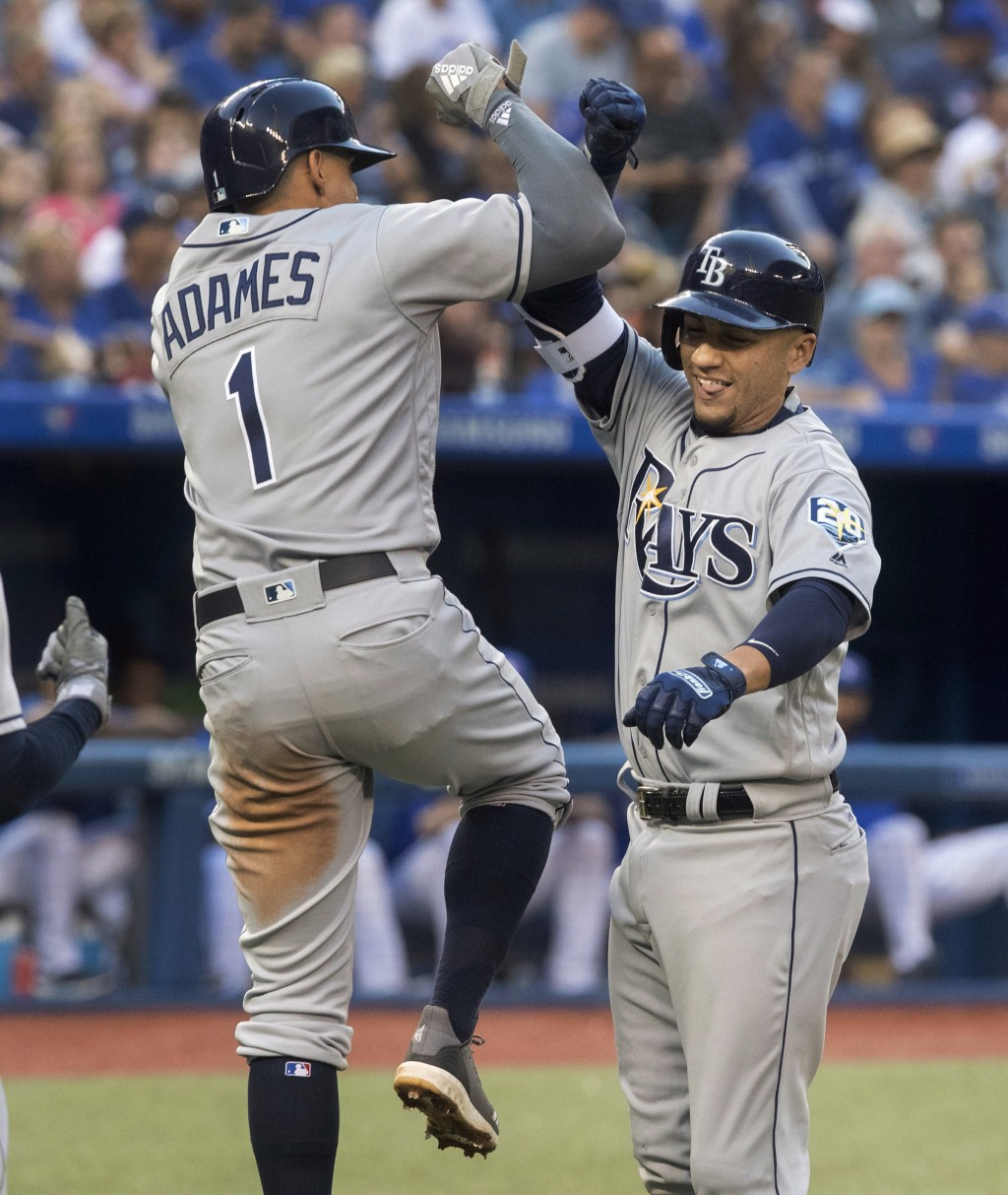 Tampa Bay Rays' Michael Perez high-fives with Willy Adames after Perez hit a two-run home run in the third inning inning of a baseball game Friday, Au