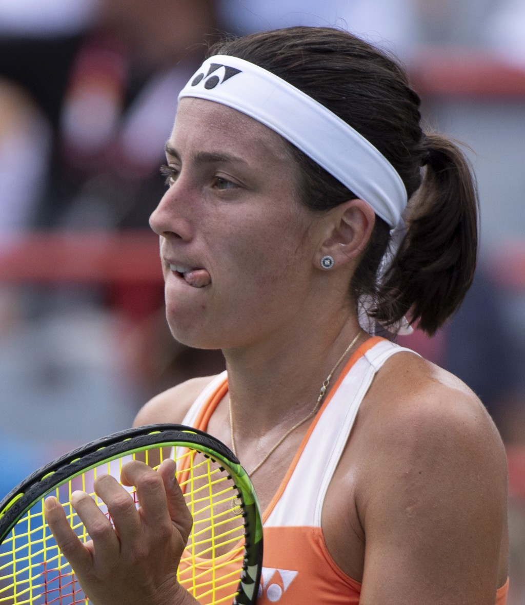Anastasija Sevastova of Latvia reacts as she faces Sloane Stephens of the United States during quarterfinals play at the Rogers Cup tennis tournament