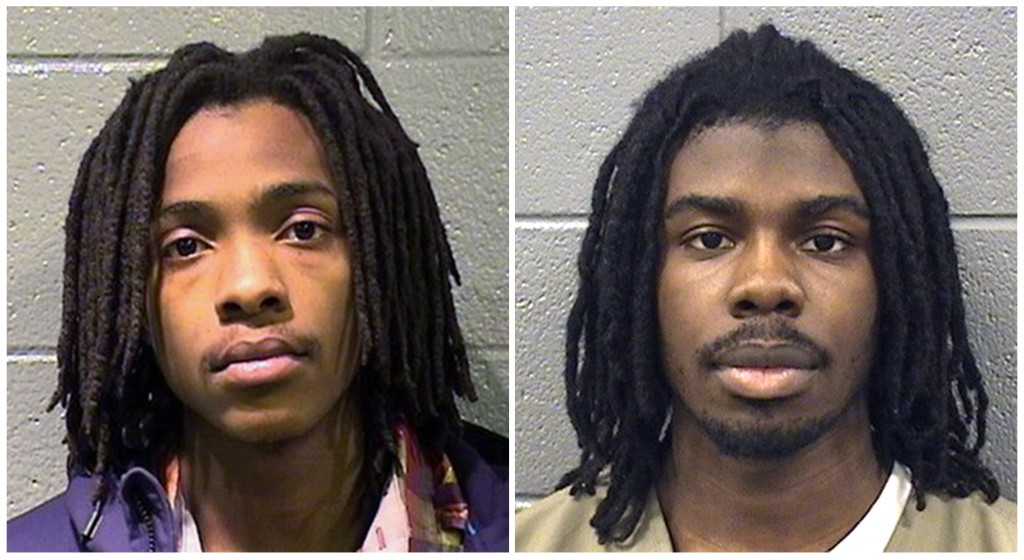This combination of photos provided by the Cook County Sheriff's Office shows Kenneth Williams, left, and Micheail Ward. On Friday, Aug. 10, 2018, jur...