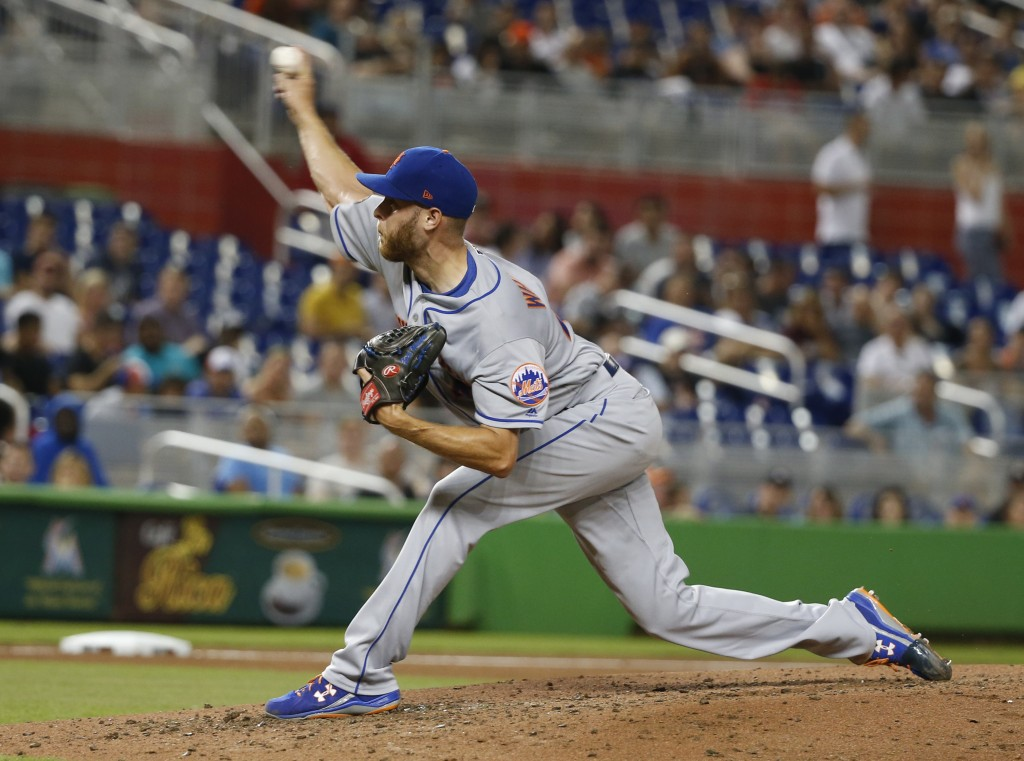 New York Mets' Zack Wheeler delivers a pitch during the fourth inning of a baseball game against the Miami Marlins, Friday, Aug. 10, 2018, in Miami. (