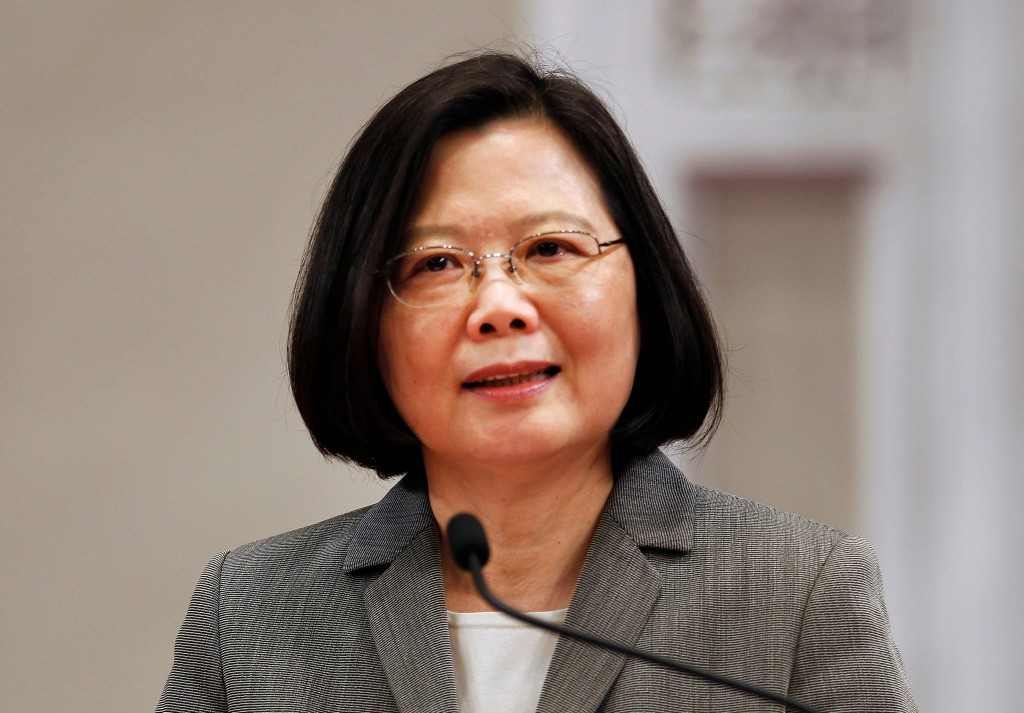 FILE - In this April 11, 2018 file photo, Taiwan's President Tsai Ing-wen attends a news conference in Taipei, Taiwan. When Taiwanese President Tsai I