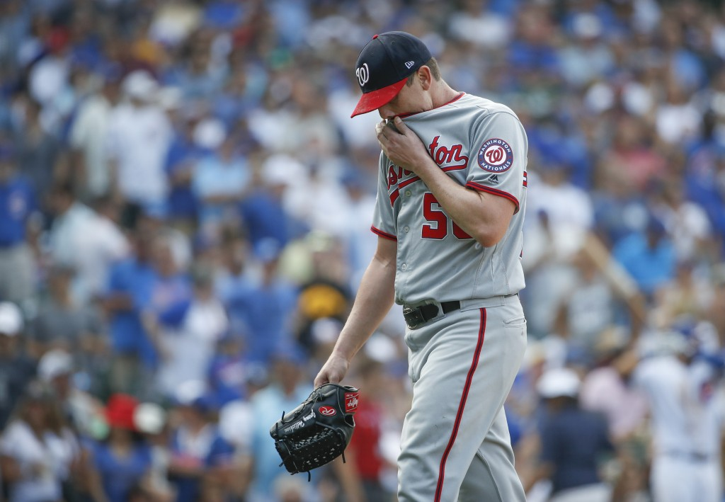 Washington Nationals starting pitcher Jeremy Hellickson leaves a baseball game against the Chicago Cubs during the sixth inning Friday, Aug. 10, 2018,