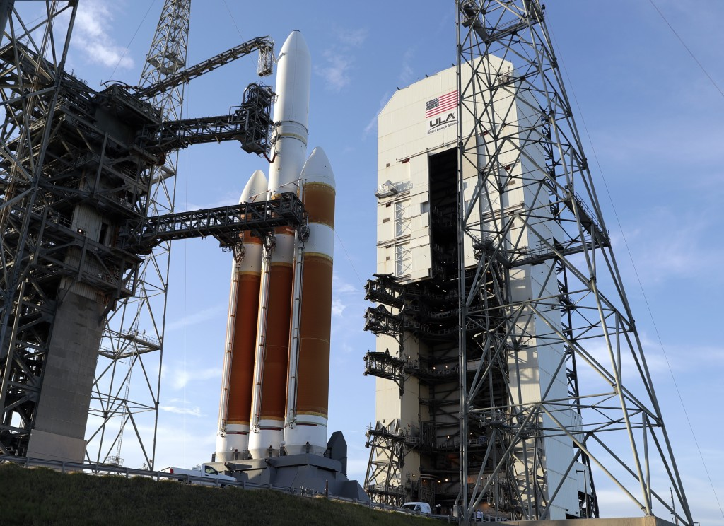 A Delta IV rocket stands ready for launch at complex 37 at the Kennedy Space Center, Friday, Aug. 10, 2018, in Cape Canaveral, Fla. The Parker Solar P