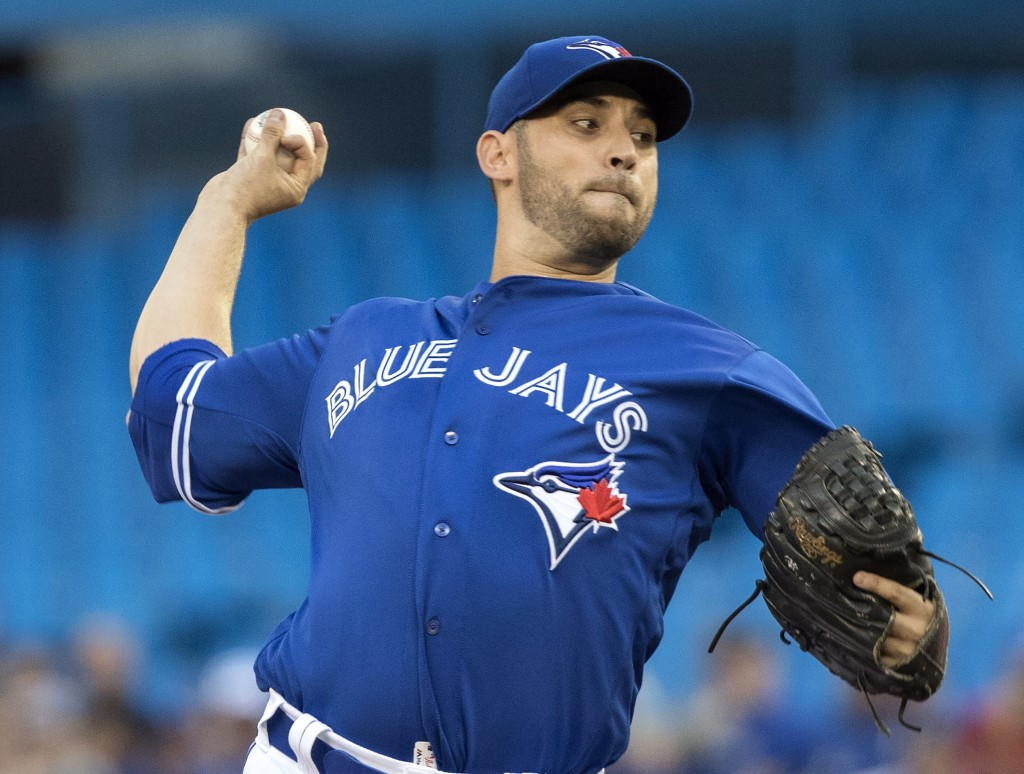 Toronto Blue Jays starting pitcher Marco Estrada throws to a Tampa Bay Rays batter during the first inning of a baseball game Friday, Aug. 10, 2018, i